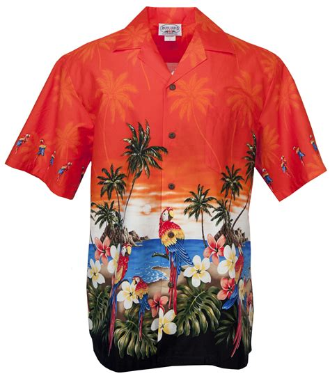 aloha shirt parrot palms 2 mens hawaiian aloha shirt in orange mens