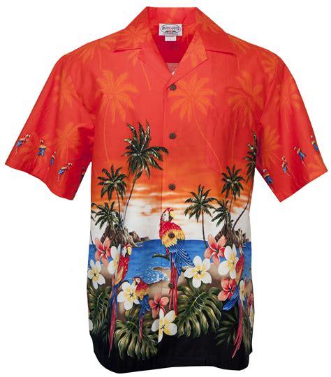 hawaiian shirt parrot palms 2 mens hawaiian aloha shirt in orange mens hawaiian shirts clothing 440