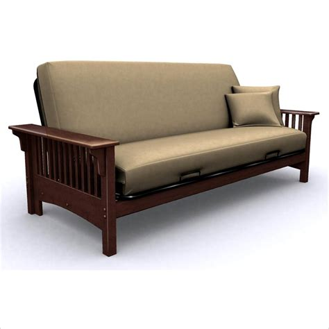 elite products santa barbara wood futon frame in walnut