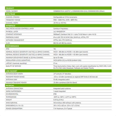 spec sheet template spec sheet sle 10 documents in pdf word
