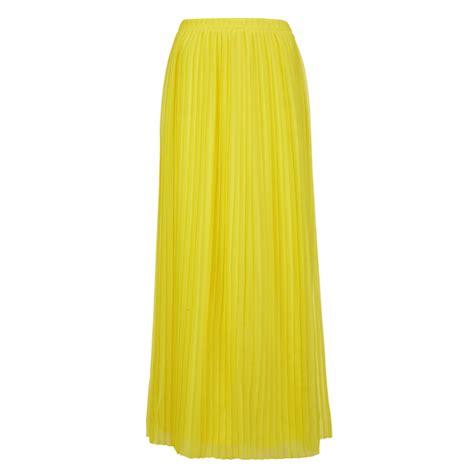 orange s beflowy pleated maxi skirt yellow