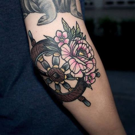 boat steering wheel tattoo peony flower neo traditional neotraditional