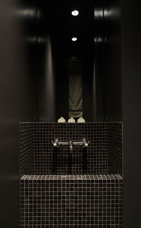 black mosaic bathroom contemporary space residential surgery 08 designed by de