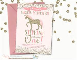 pink and gold unicorn birthday invitation pink and gold