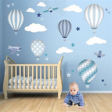 Hot Air Balloon Wall Decals Featuring Planes White Clouds Boy Nursery Wall Decal