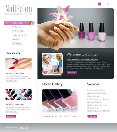 Nail Salon Website Template 23324 Free Spa Website Templates