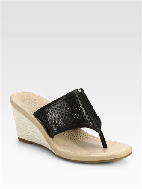 ugg solena leather canvas wedge sandals in black lyst