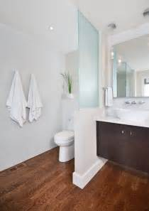 bathroom partition ideas modern clean master ensuite with curbless shower floating vanity with frosted glass partition