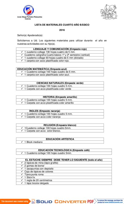 lista de beneficiarios conafor 2016 lista de utiles 2016 cuarto basico