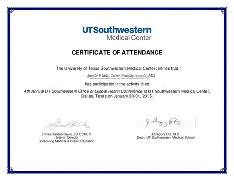 certification letter of attendance certificate of attendance global health conference signed