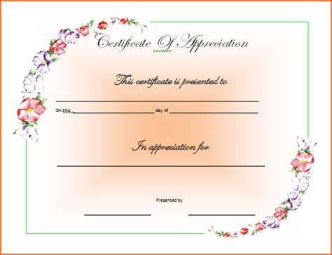 word template certificate of appreciation vygogo word