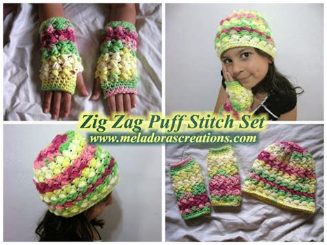 zig zag puff stitch pattern wonderful diy zig zag puff stitch gloves and hat set
