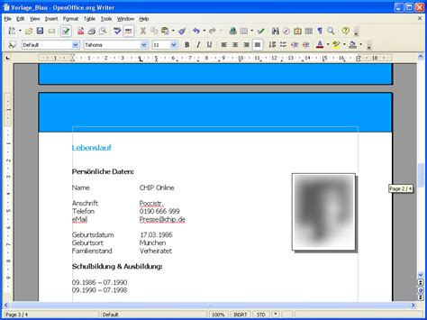 bewerbung layout download open office bewerbung vorlage f 252 r openoffice download chip