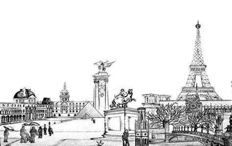 drawing  paris city black  white drawing  city