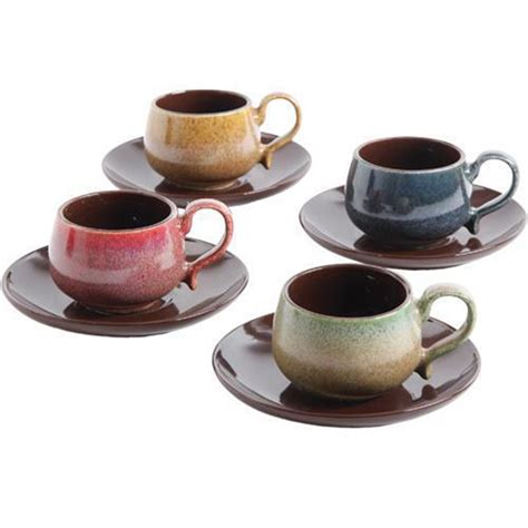 set coffee cup saucer 8 espresso cup and saucer set for 4 multicolor