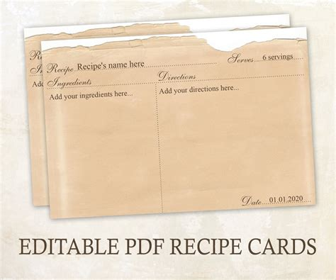 editable recipe cards 4x6 rustic recipe cards editable pdf