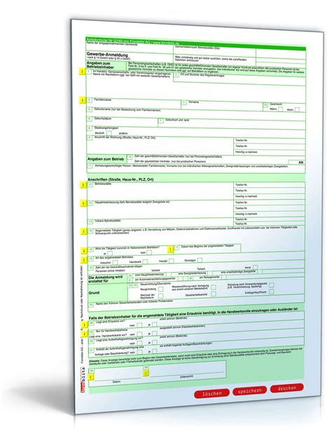 Musterbriefe Finanzamt gewerbeanmeldung formular zum