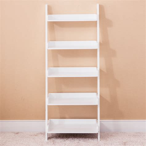 wood white 5 tier bookshelf leaning ladder wall shelf