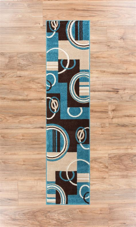 blue and brown rugs with circles echo shapes circles blue brown modern geometric comfy casual carved runner rug 2x7 20