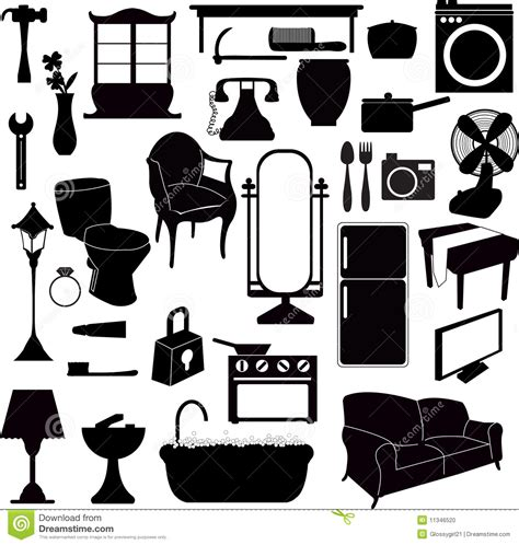 House Plans For Free silhouettes furniture and other objects stock photo