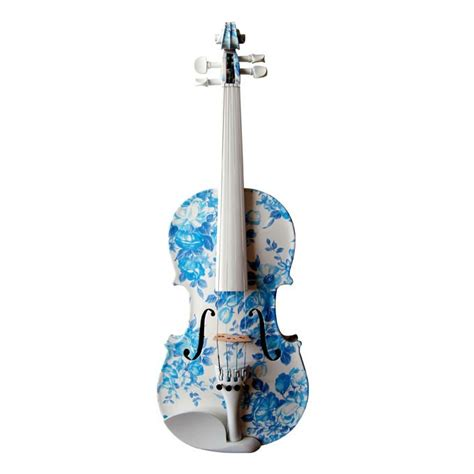 colored violins blue and white flowers violin musical