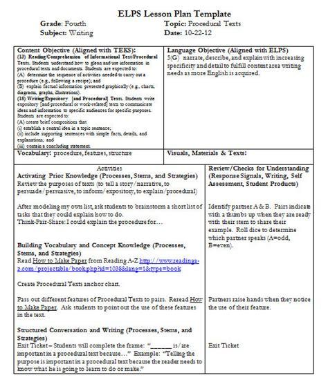 teks lesson plan template i teach dual language how to write procedural texts
