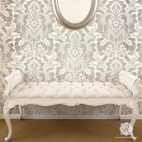 wall pattern stencil designs large floral damask wall stencils diy wallpaper look