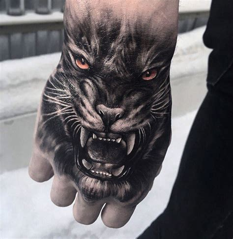 snarling tiger hand piece best tattoo design ideas