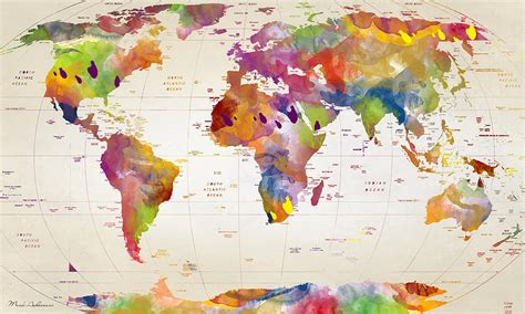 the art of world map of the world painting by mark ashkenazi