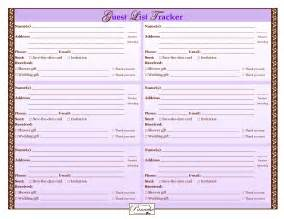 Free Wedding Guest List Template Printable 7 Best Images Of Wedding Guest List Form Printable Free