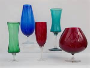 vintage retro coloured glass bowls vases choice of bowl