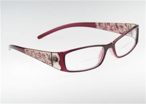 s bifocal clear reading glasses floral etched