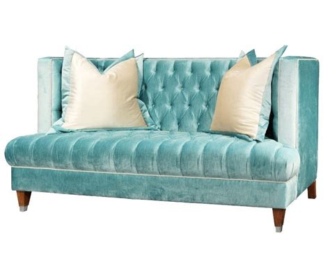 blue tufted fabric high back sofa