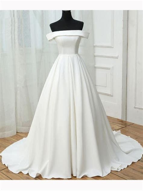 chic    shoulder white satin simple evening
