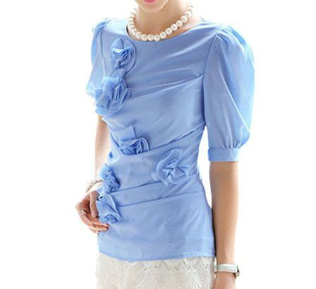Rosette Blouse rosette wrapping blouse blue michele r d research