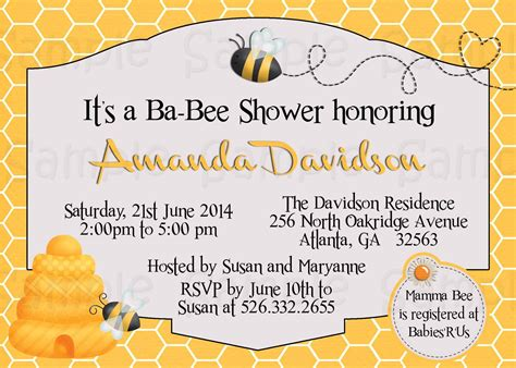 Bee Baby Shower Invitations by Custom Bumble Bee Baby Shower Invitation Printable