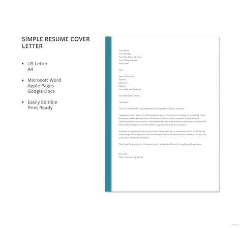 Simple Resume Cover Letter Template by Free Simple Resume Cover Letter Template In Microsoft Word