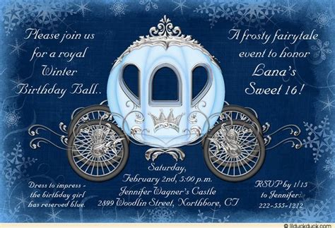cinderella winter ball invitation royal birthday sweet