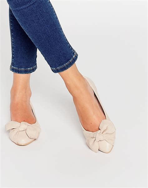 pink lost lost ink pale pink bow ballerina flat shoes