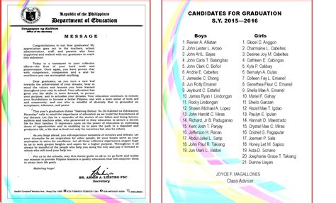 2015 2016 Graduation Program New Template Deped Lp S High School Graduation Program Template