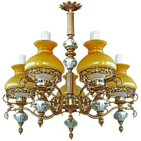 Yellow Chandelier Shades Antique Porcelain Bronze Opaline Yellow Glass Shades Chandelier For Sale At 1stdibs