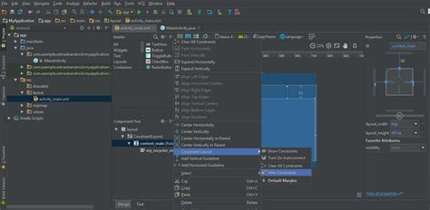 change default layout android studio constraint layout gives error in default template in