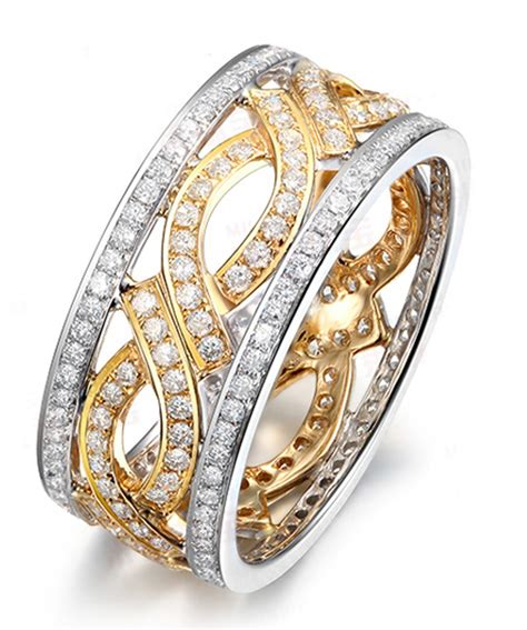 1 carat antique wedding ring band in two tone