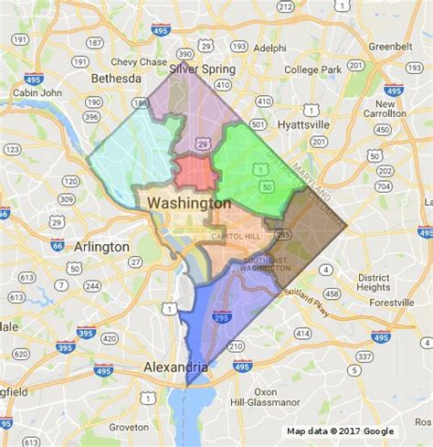 washington dc map of wards dc ward map overlay