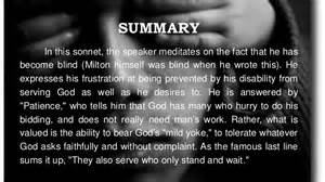on his blindness summary on his blindness by milton