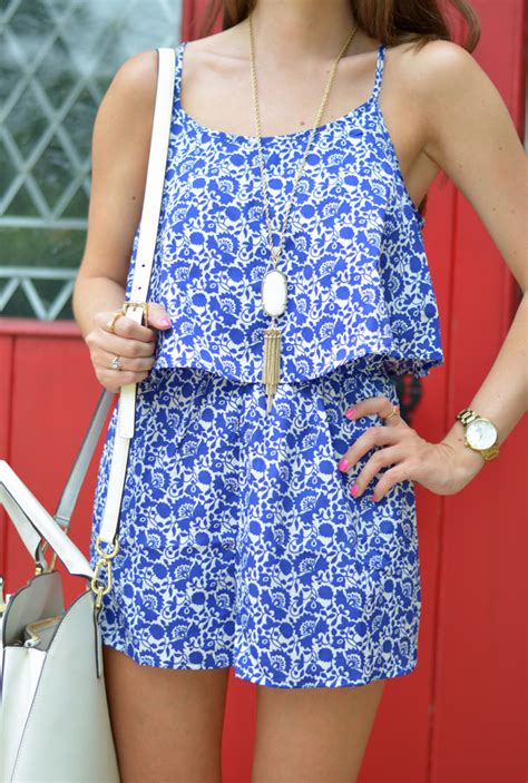 blue pattern romper southern curls pearls blue white