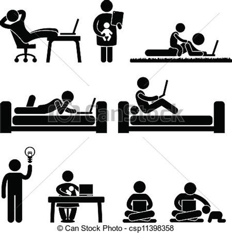 work from home office work from home office freedom a set of pictograms
