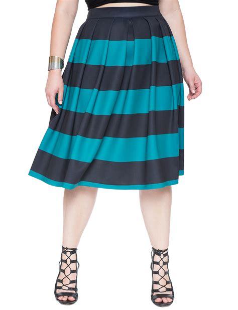 Midi Overall Stripe wide striped scuba midi s plus size skirts eloquii