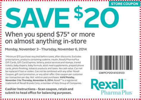 printable pers coupons canada 2014 rexall pharmaplus canada coupon save 20 when you spend