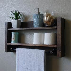 wood bathroom shelf with towel bar modern rustic 2 tier bathroom shelf with 18 by keodecor